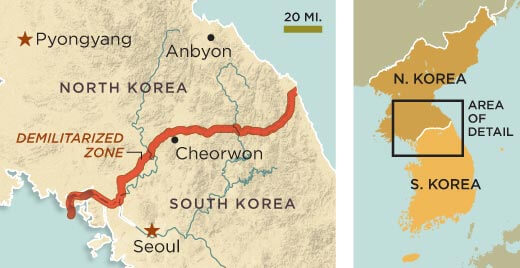 A map showing the DMZ slicing its way across the Korean peninsula. <i><br>Source: Smithsonianmag.com</i></br>