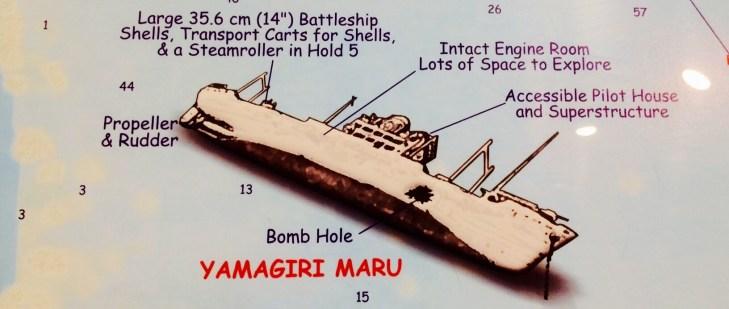The Yamagiri Maru wreck which lies at the bottom of Chuuk lagoon.