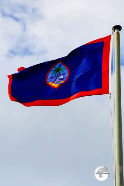 The flag of Guam flying in the capital, Hagåtña.