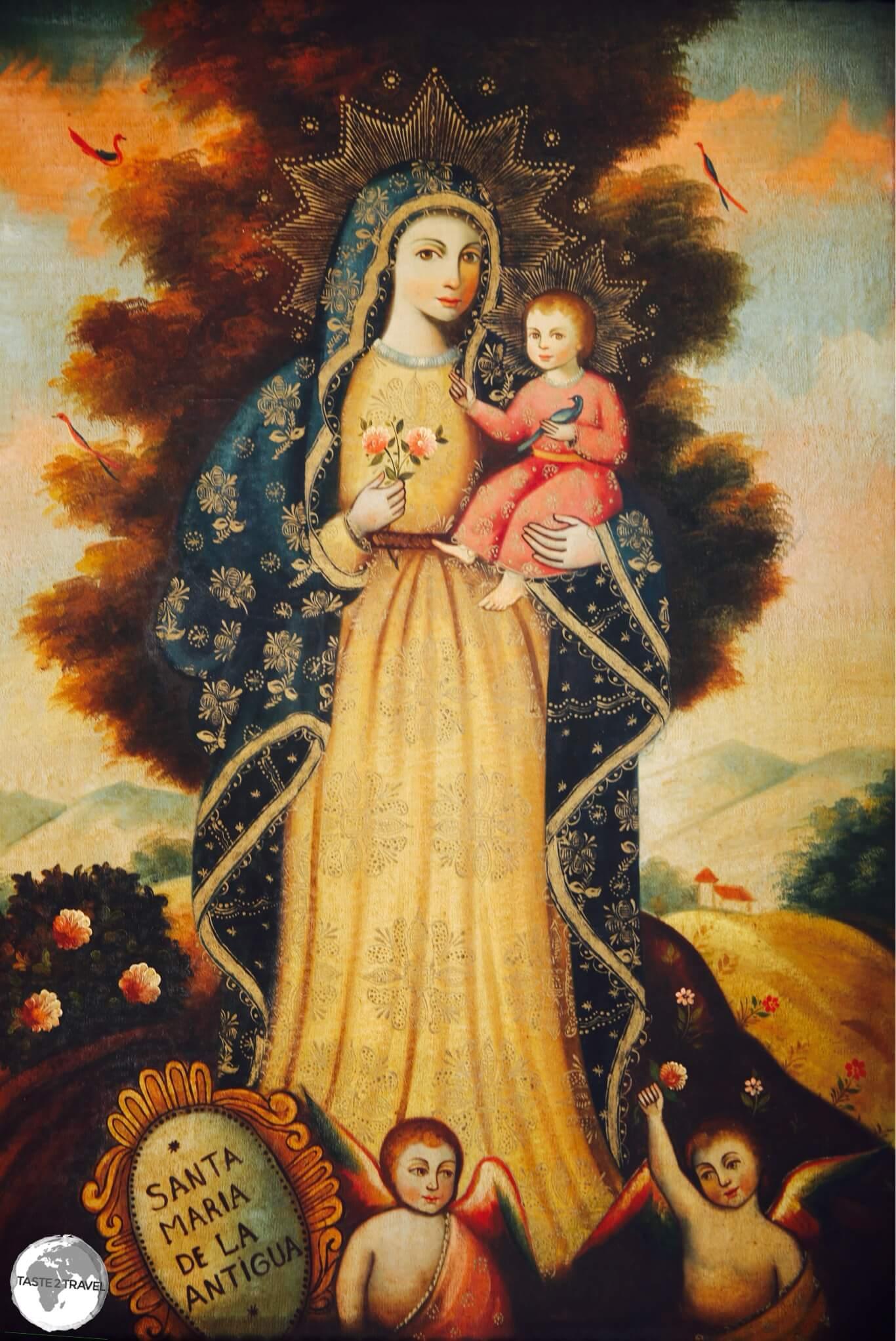 Antique Spanish religious art in the Casco Antiguo, Panama City.
