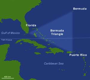 Boundaries of the fictitious Bermuda Triangle. Source: Wikipedia
