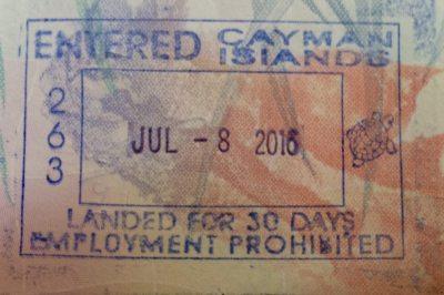 My Cayman Islands passport stamp.