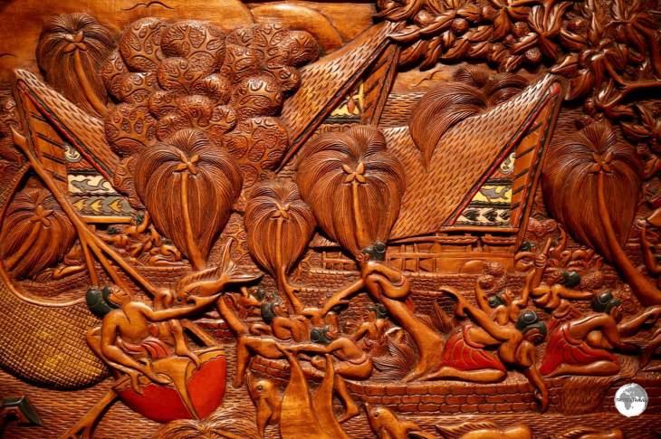 Traditional Palau 'storyboard' wood carving.