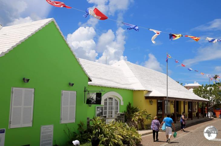 Shops in St. Georges town with their white 'rainwater catchment' limestone rooftops.