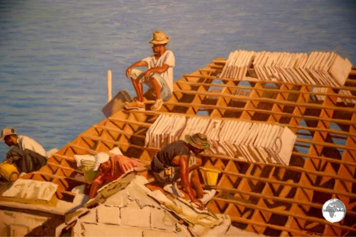 Painting at the Masterworks Art Gallery showing workers constructing a Bermudan rooftop.
