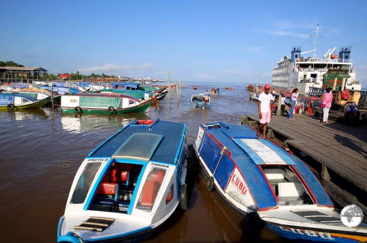 Essequibo Region Guyana Travel Guide: Speedboats in Parika port.
