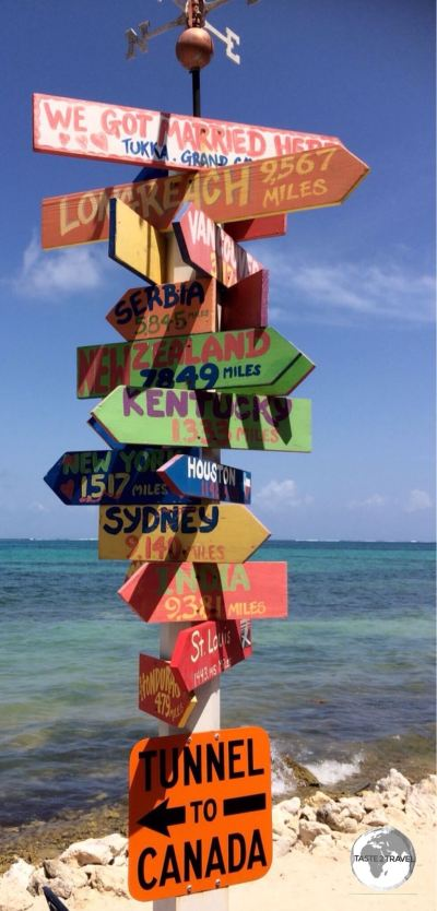 A distance marker at the Tukka restaurant, Grand Cayman.