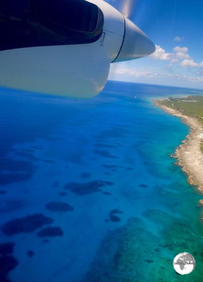 On approach to Cayman Brac with Cayman Airways.