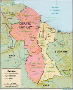 Map showing disputed Essequibo territory.