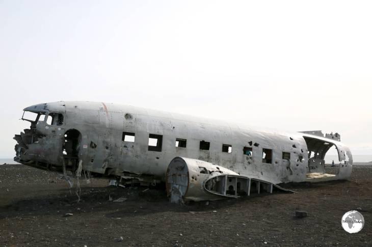 A US Navy airplane, a Douglas Super DC-3, wrecked on the black sands of Sólheimasandurbeach.