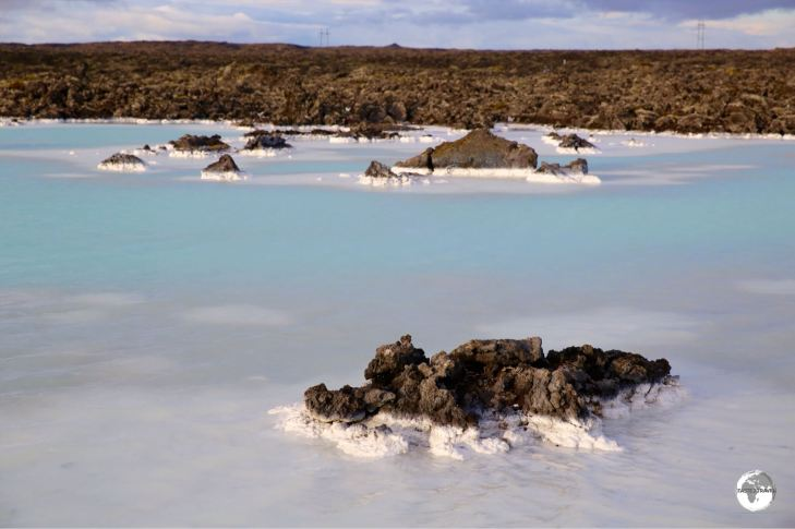 The milky-coloured water of Blue Lagoon is a comfortable 39°C.