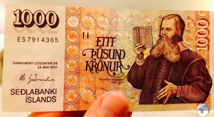 Icelandic Krona banknote.