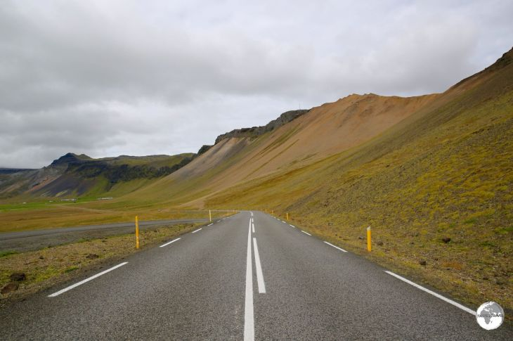 The excellent highways in Iceland, such as this one on the west coast, are normally free of traffic.