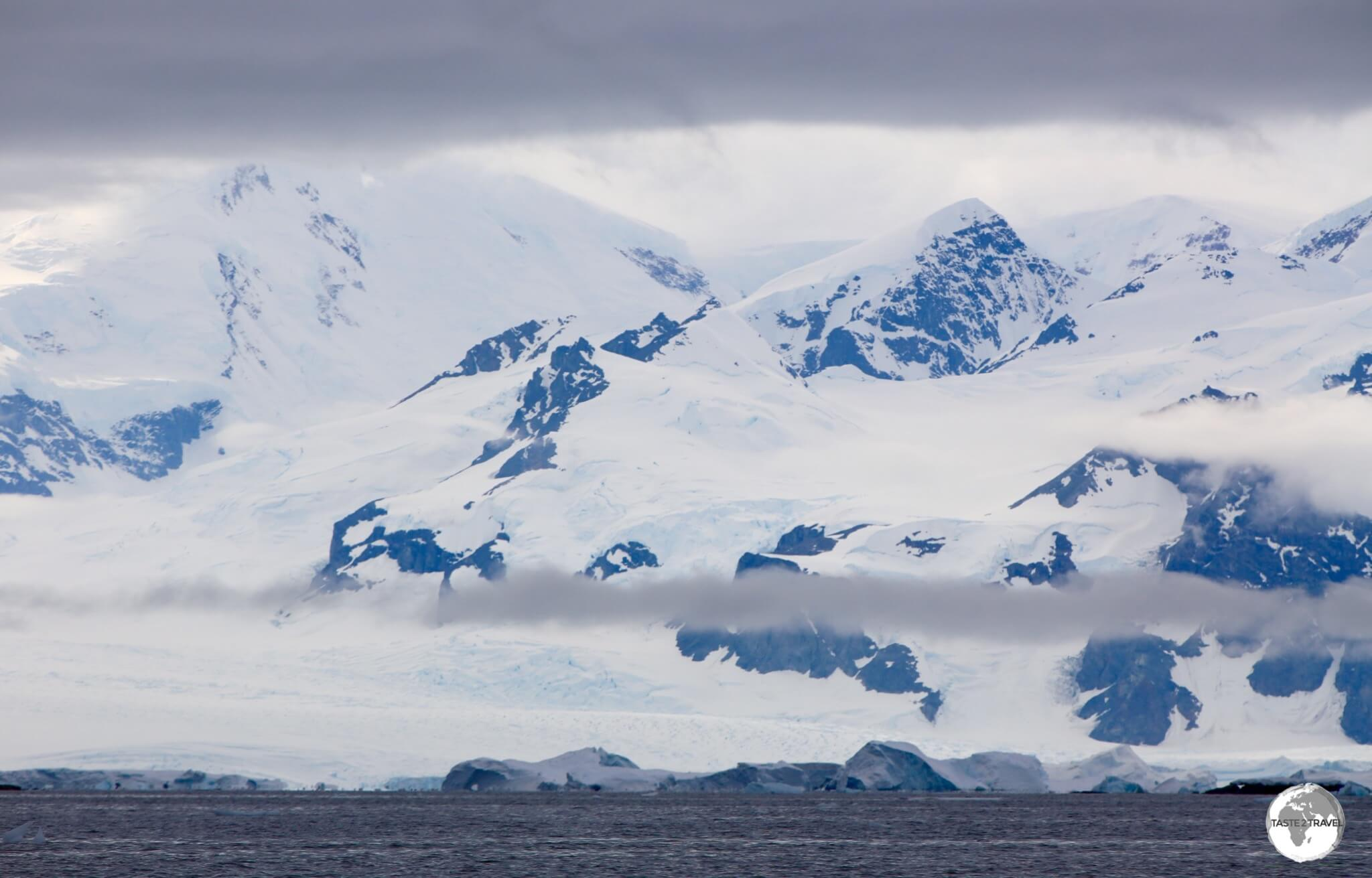 Majestic peaks line the shores of Crystal Sound, Antarctica.