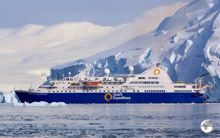 Quark Expeditions 'Ocean Diamond' in the Graham passage.