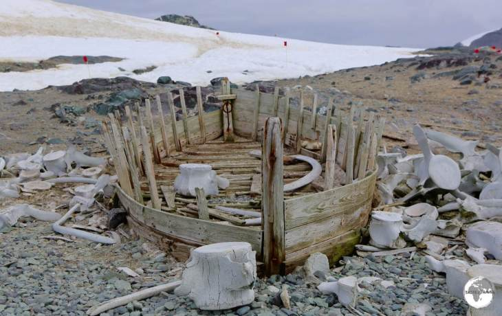 Remnants of an old whaling boat surrounded by whale bones on D'Hainaut Island. Due to it's dry, freezing environment the history of Antarctica remains well preserved.