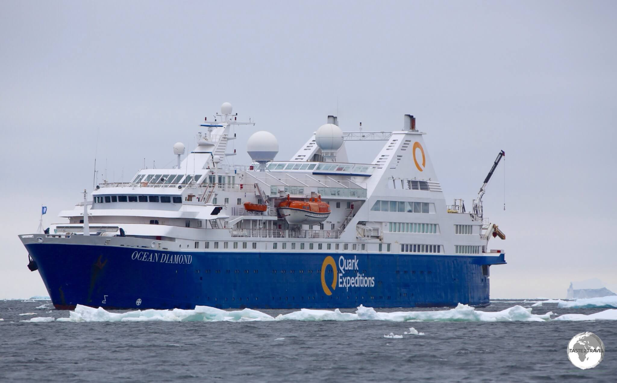 The 'Ocean Diamond' moored close to Adelaide island.