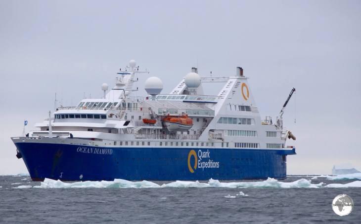 The <i>Ocean Diamond</i> moored offshore from Adelaide island.