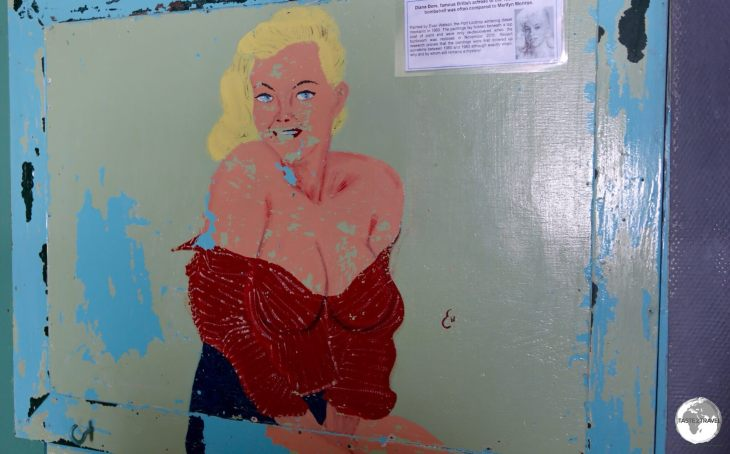 Artwork on the wall at Base A at Port Lockroy, which dates from the 1960's, depicts British actress Diana Dors, who was often compared to Marilyn Monroe.