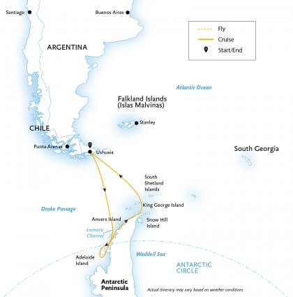 A map showing my 14-day journey to below the Antarctic circle with Quark expeditions.