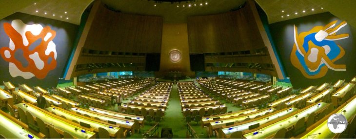 The United Nations General Assembly hall in New York City.