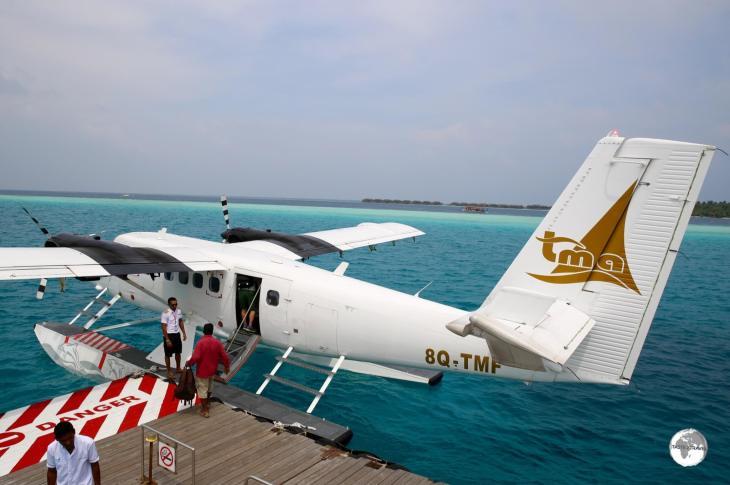 Arriving at the Vilamendhoo Island Resort pontoon on my TMA seaplane flight.