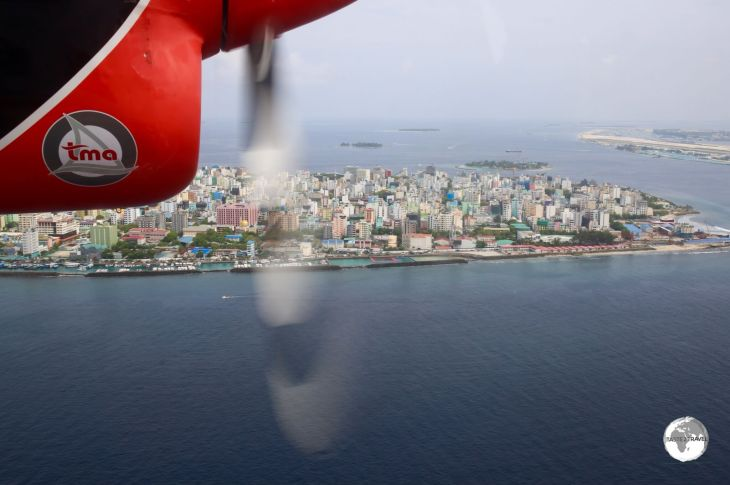 A panoramic view of Malé as we approach the seaplane terminal.