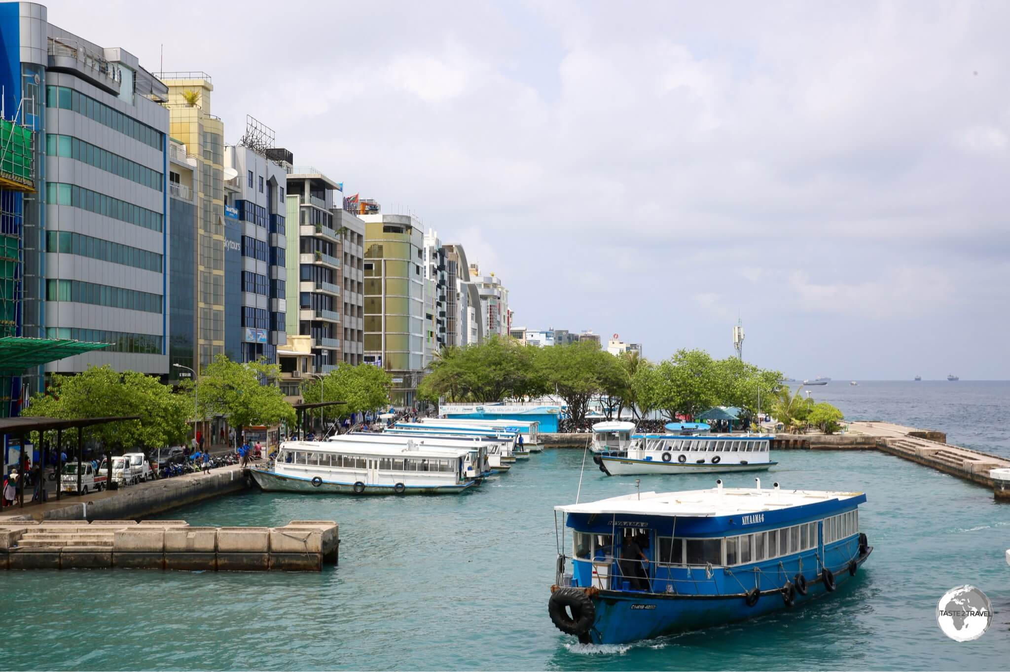 The airport ferry dock and waterfront in downtown Malé.