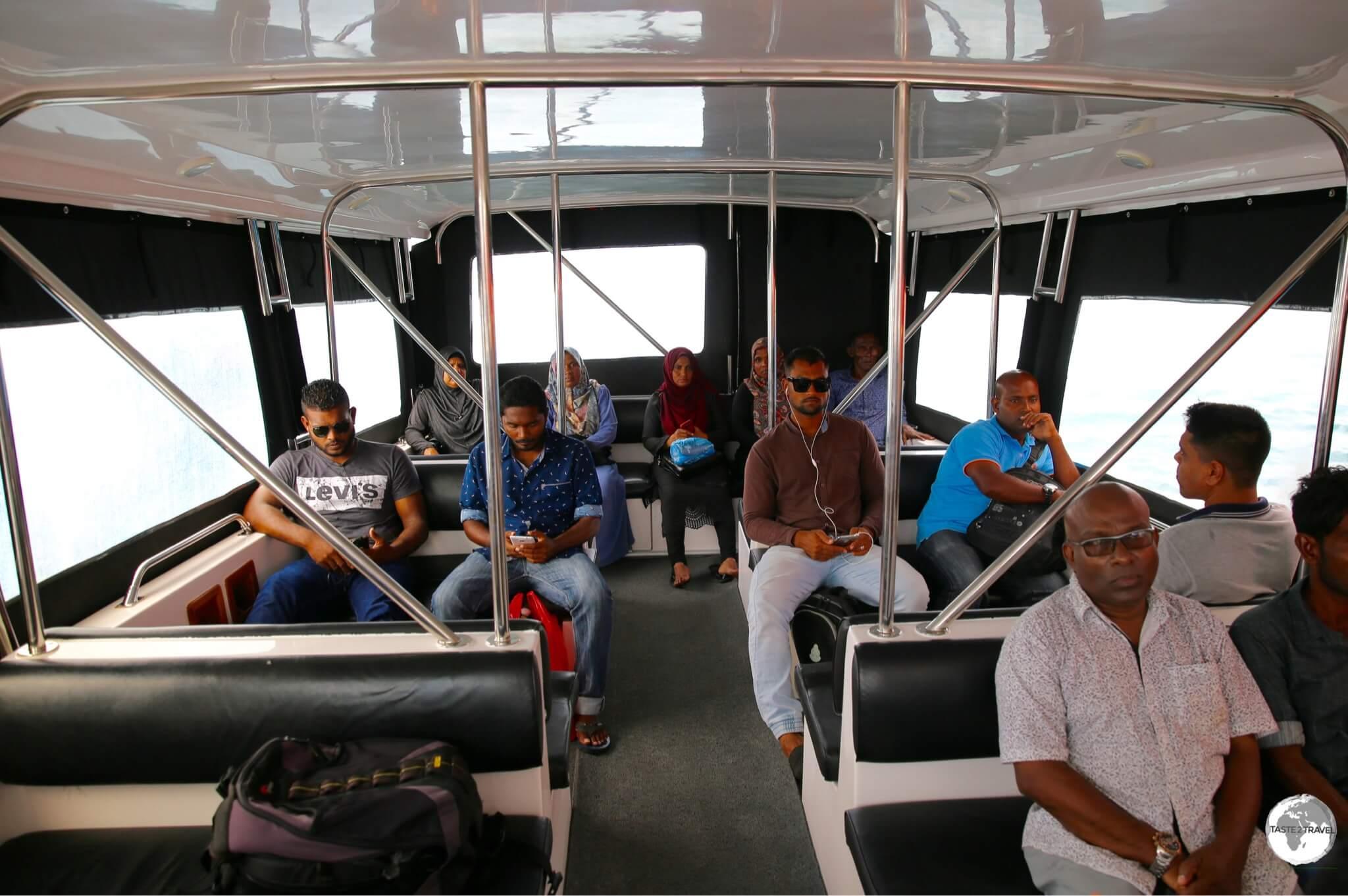 Speedboat to Maafushi island.