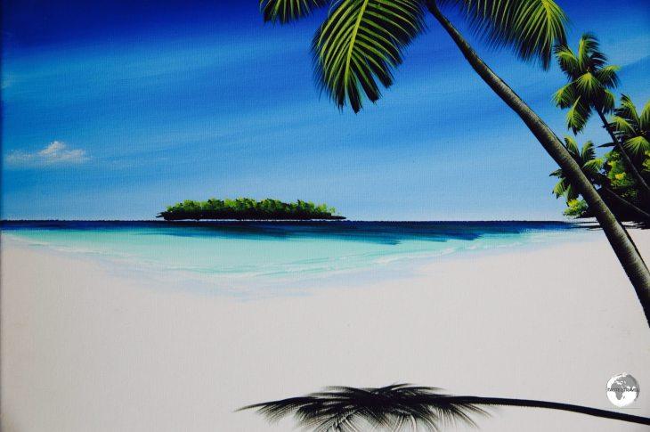 Typical Maldivian seascape as painted by Maafushi artist Ibrahim Shinaz.