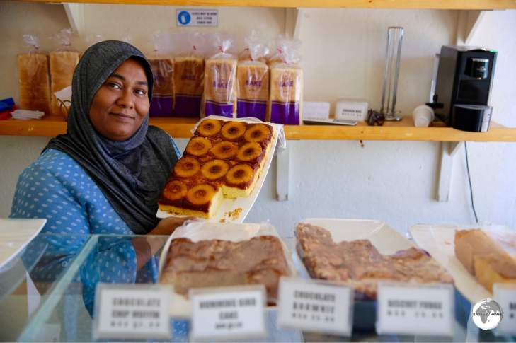 Suzy runs the 'Fine Bake' bakery on the main street in Maafushi. Her cakes are amazing - especially her Upside-down Pineapple cake.