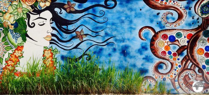 Wall art on Maafushi island.Wall art on Maafushi island.