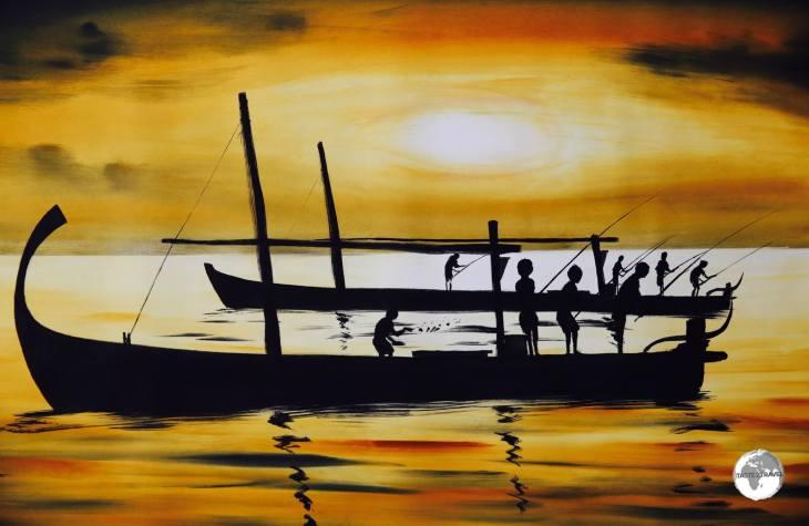 Maldivian sunset by Maafushi Island artist - Ibrahim Shinaz.