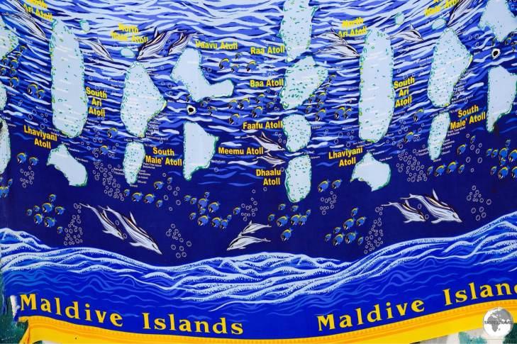 A map of the Maldives printed onto a sarong.
