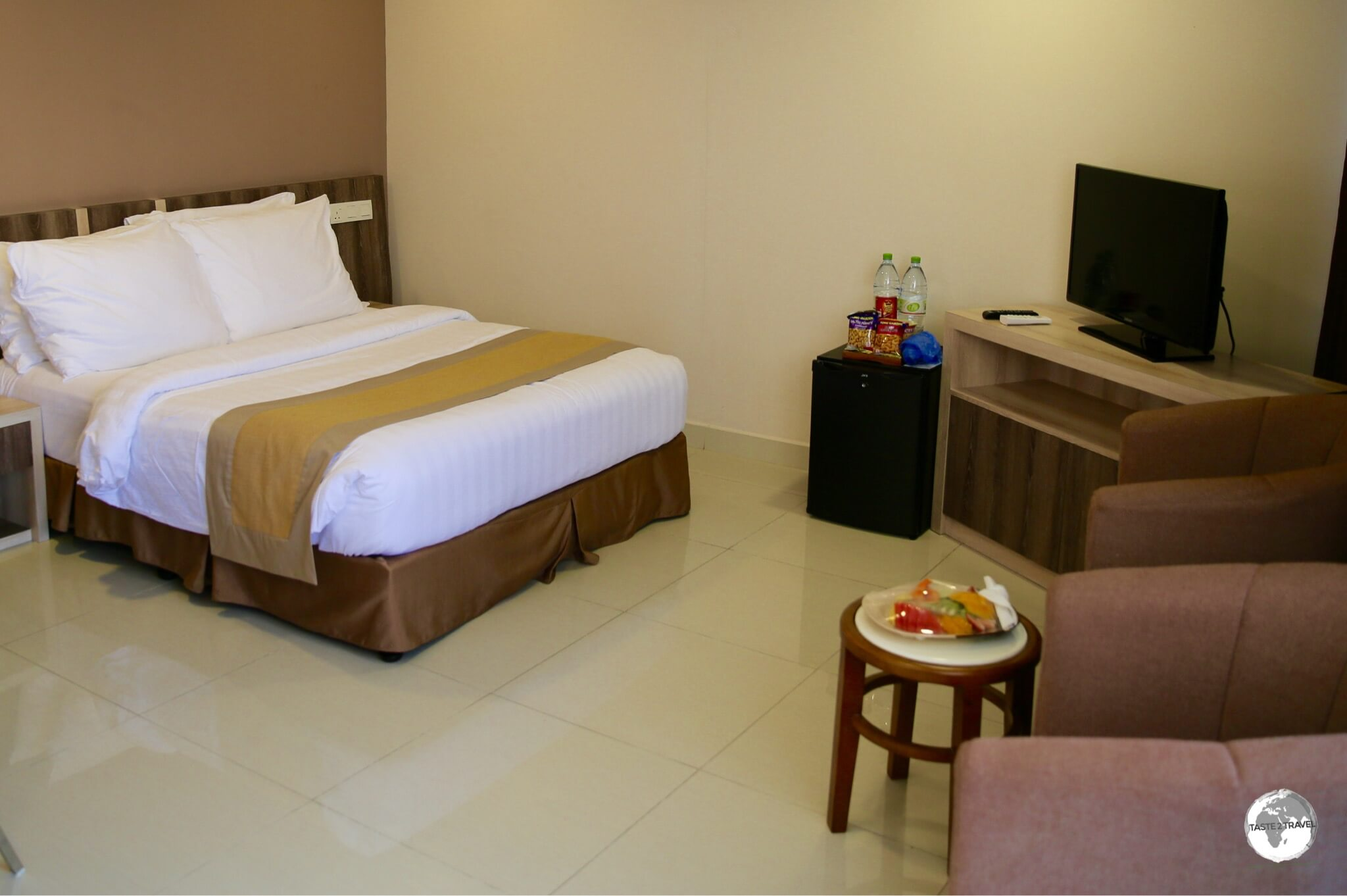 The spacious rooms at the Champa Central hotel offer a welcome respite from over-crowded Malé.