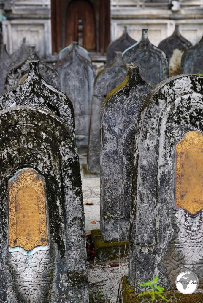 Historical cemetery on the grounds of the Friday mosque in Malé - the oldest mosque in the Maldives.