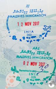 Maldives immigration stamps.