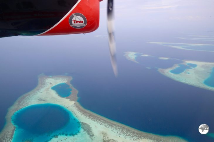 Some of the many submerged coral islands which comprise the South Ari Atoll.