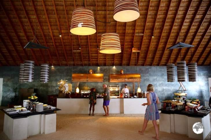 The sand-floor, Ahima buffet restaurant, one of several restaurants at Vilamendhoo Island Resort and Spa.