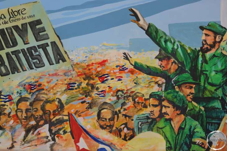 A propaganda painting in Havana's 'Museum of the Revolution', celebrates the overthrow of former President Batista by Fidel Castro.