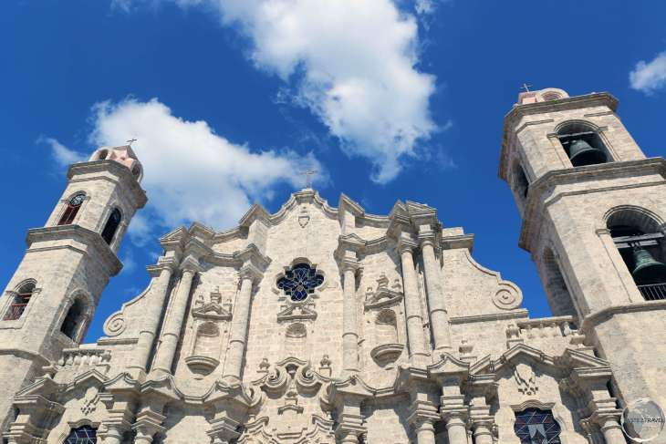 The historic Havana Cathedral is located on <i>Plaza de Catedral</i> in Havana old town.