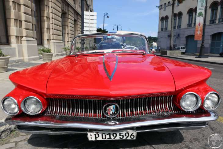 There are lots of classic American cars to be found on the streets of Cuba, such as this red beauty in Havana old town.