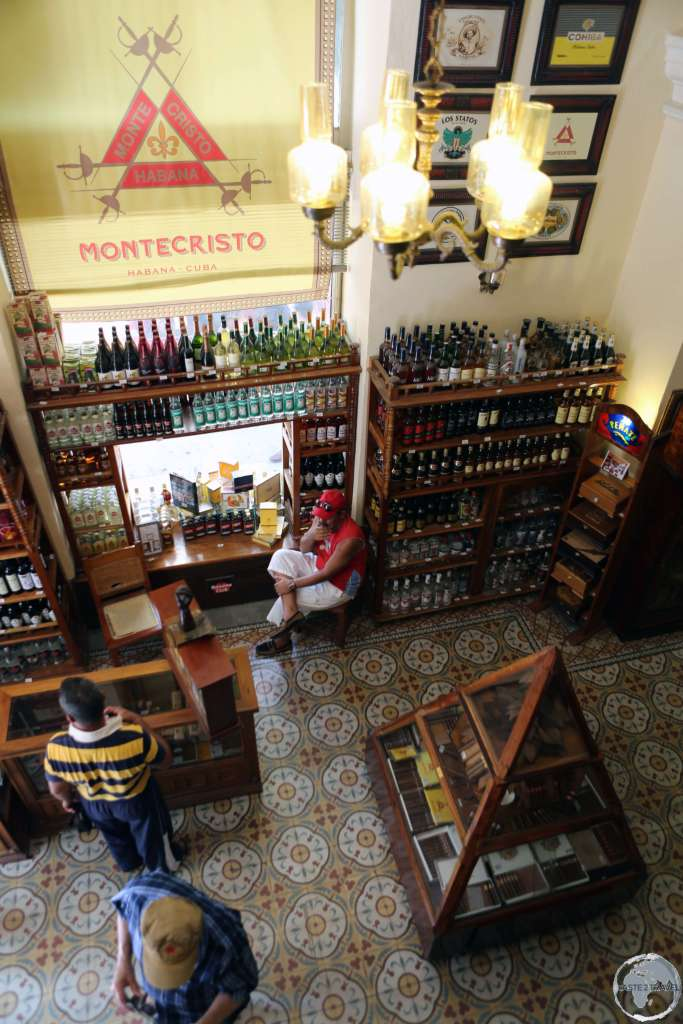 A cigar and rum shop in downtown Cienfuegos.