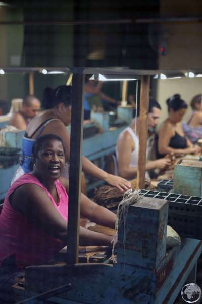 Cigar factory workers in Sancti Spiritus, where most of the workers are female.