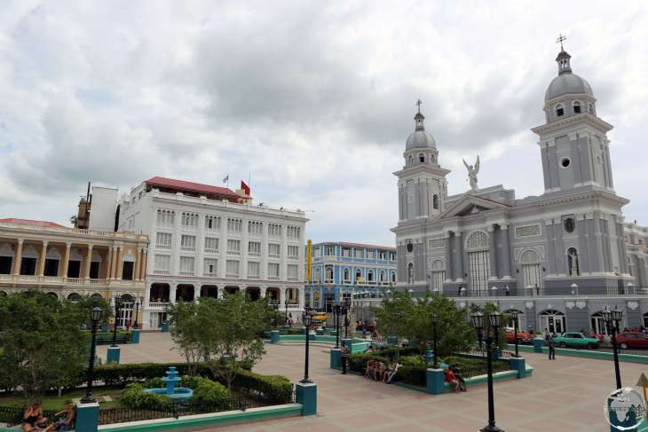Adjacent to Cespedes Park, the iconic Hotel Casa Granda (white building) is a city institution.
