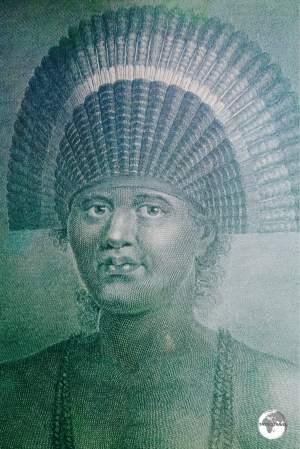 An engraved print of the 36th Tu'i Tonga Fatafehi Paulahi at Friend's cafe.