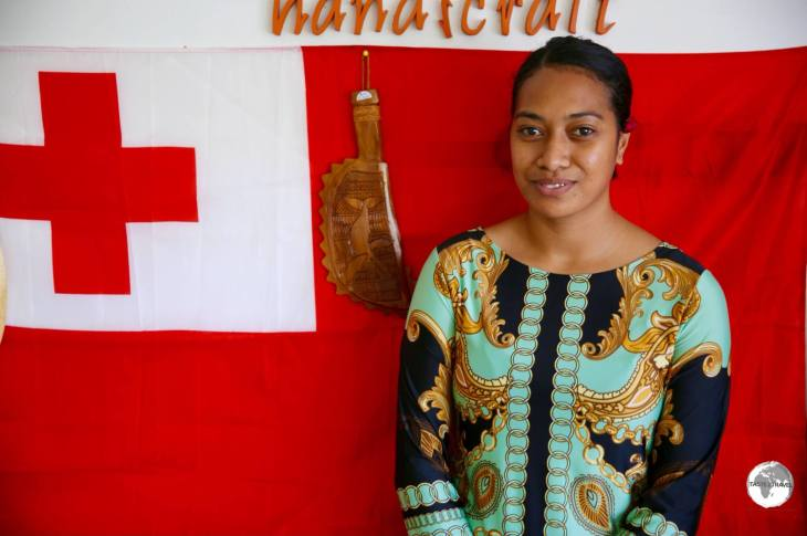 Salote - the helpful attendant at Langafonua women's co-operative in Nuku'alofa