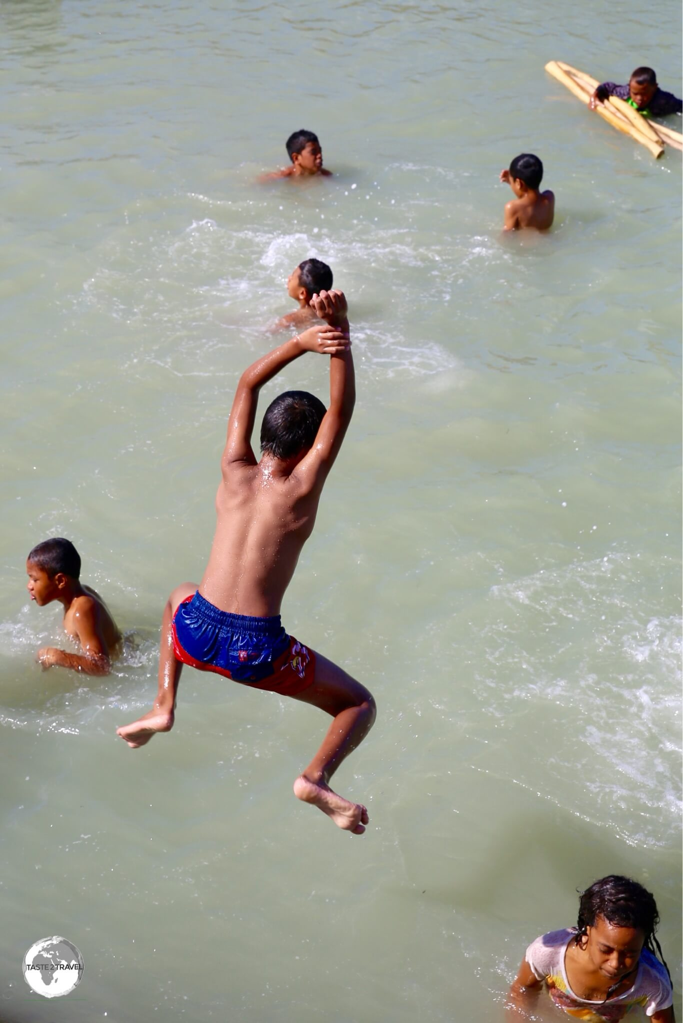 Swimming in the harbour at Nuku'alofa.