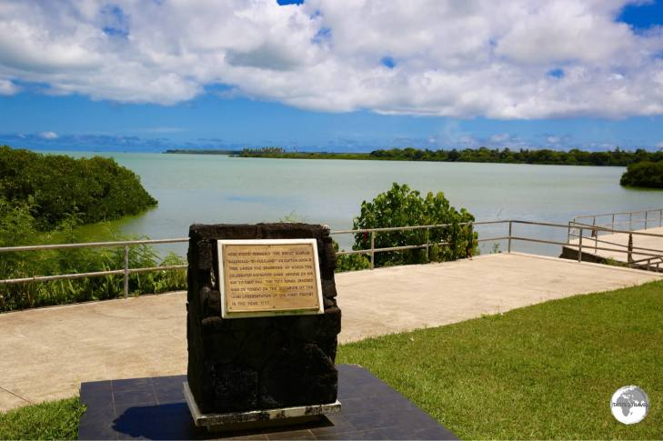 A marker indicates Captain James Cook's Landing Place on his 3rd (and longest) visit to Tonga.