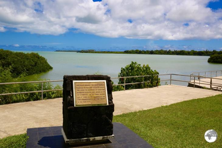 A marker near Holonga village indicates Captain James Cook's landing place on his 3rd visit to Tonga.